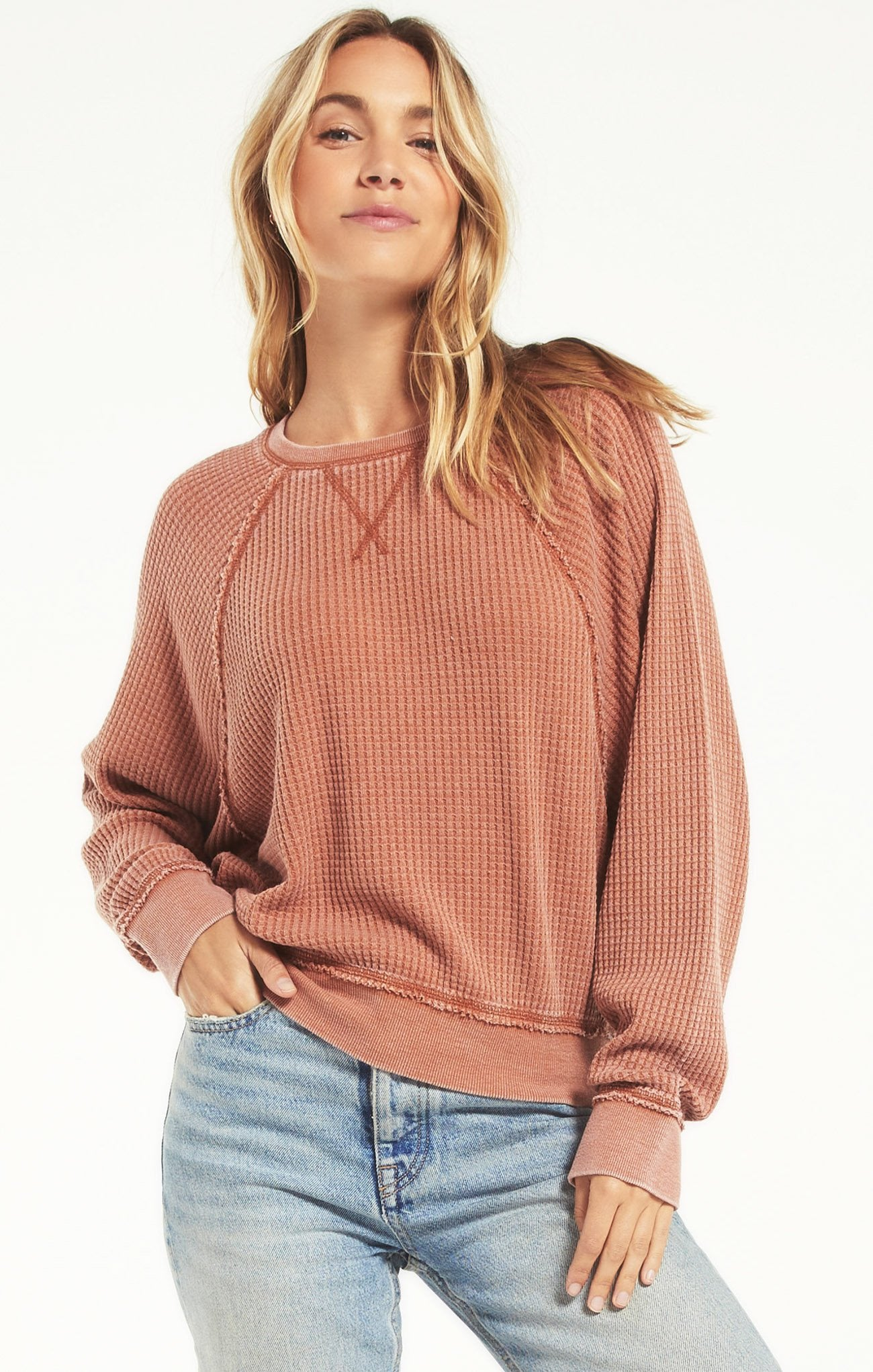 Z Supply Waffle Long Sleeve Sleeve-Copper