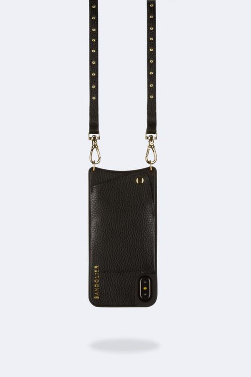 Nicole Pebble Leather Crossbody Bandolier, iPhone XR- Black/Gold