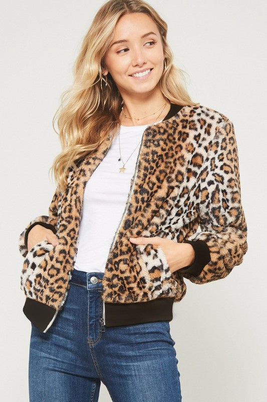 Promesa Leopard Bomber Jacket - Brown