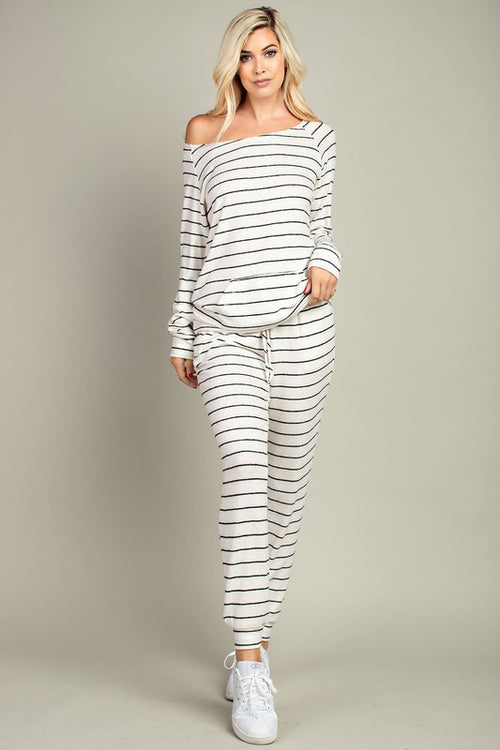 143 Story Striped Brushed Drawstring Pants - Ivory