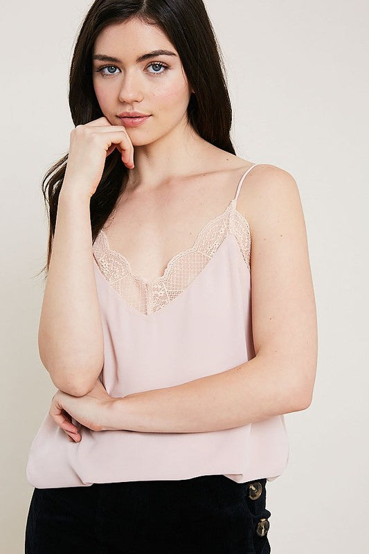 Blush Lace Trimmed Cami Top - Ella J Boutique