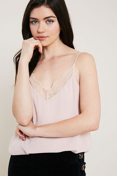 Blush Lace Trimmed Cami Top
