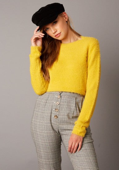 Crew Neck L/S Fuzzy Sweater - Mustard - Ella J Boutique