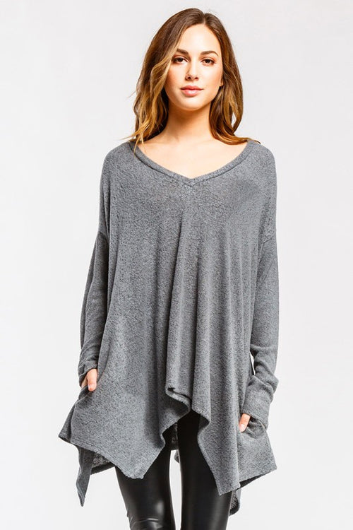 Cherish Loose Fit Asymmetrical  Draped V-Neck Top - Olive (looks charcoal)