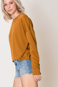 Hyfve Tie Back Drop Sleeve Boxy Top-Camel - Ella J Boutique