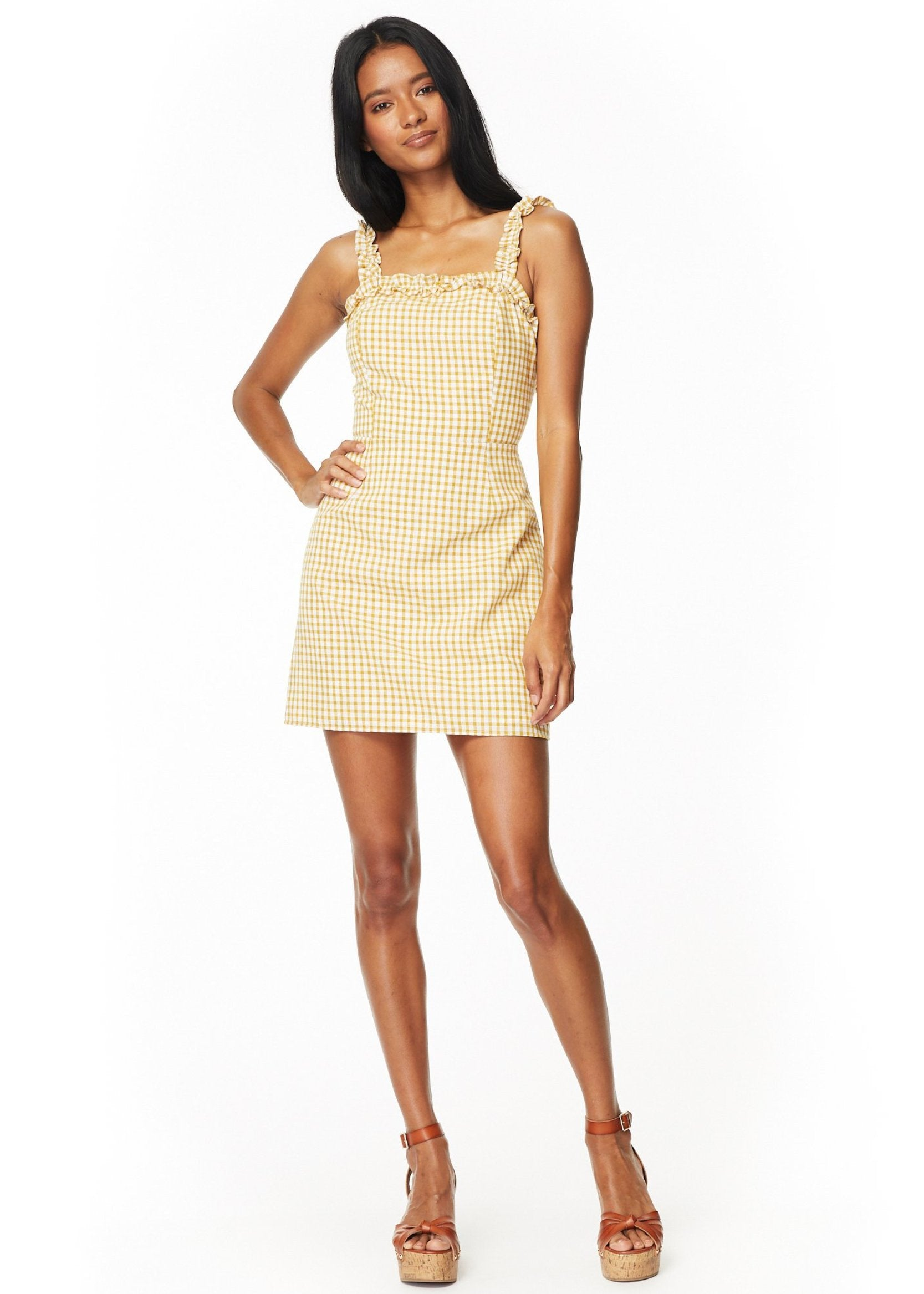Lost + Wander Mimosa Ruffle Dress - Mustard/White