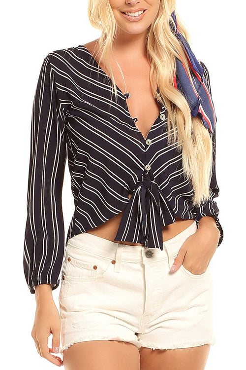 Lucy Love Windsor Top - Navy Stripe