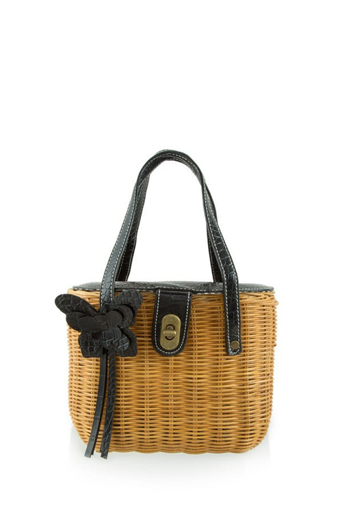 Rattan Handbag with Butterfly