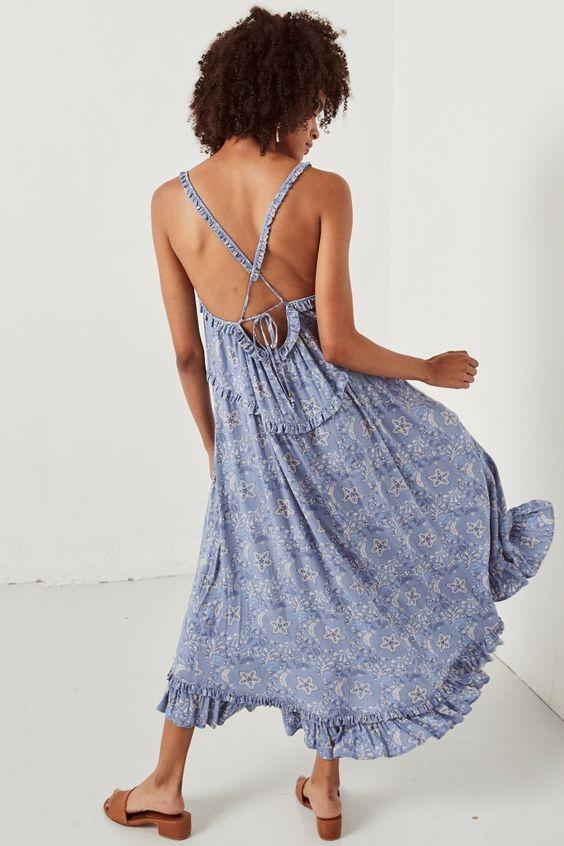 Spell Designs Celestial Midi Dress, Chambray - Ella J Boutique