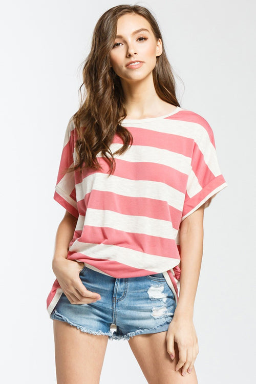Coral Stripe Top