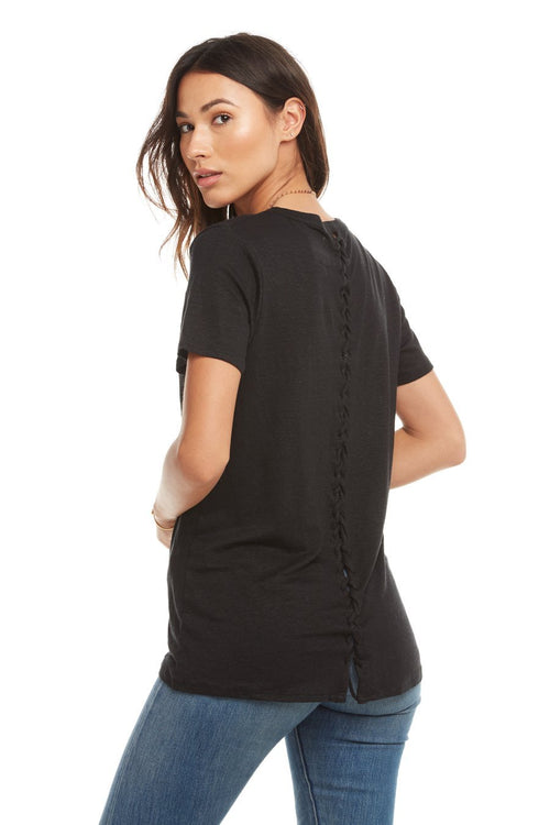 Chaser Linen Jersey S/S Lace-Up Back Hi-Lo Tee, True Black