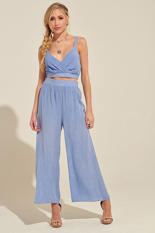 Rayon Crinkle Crop Top & Wide Pants, 2pc-set, Chambray
