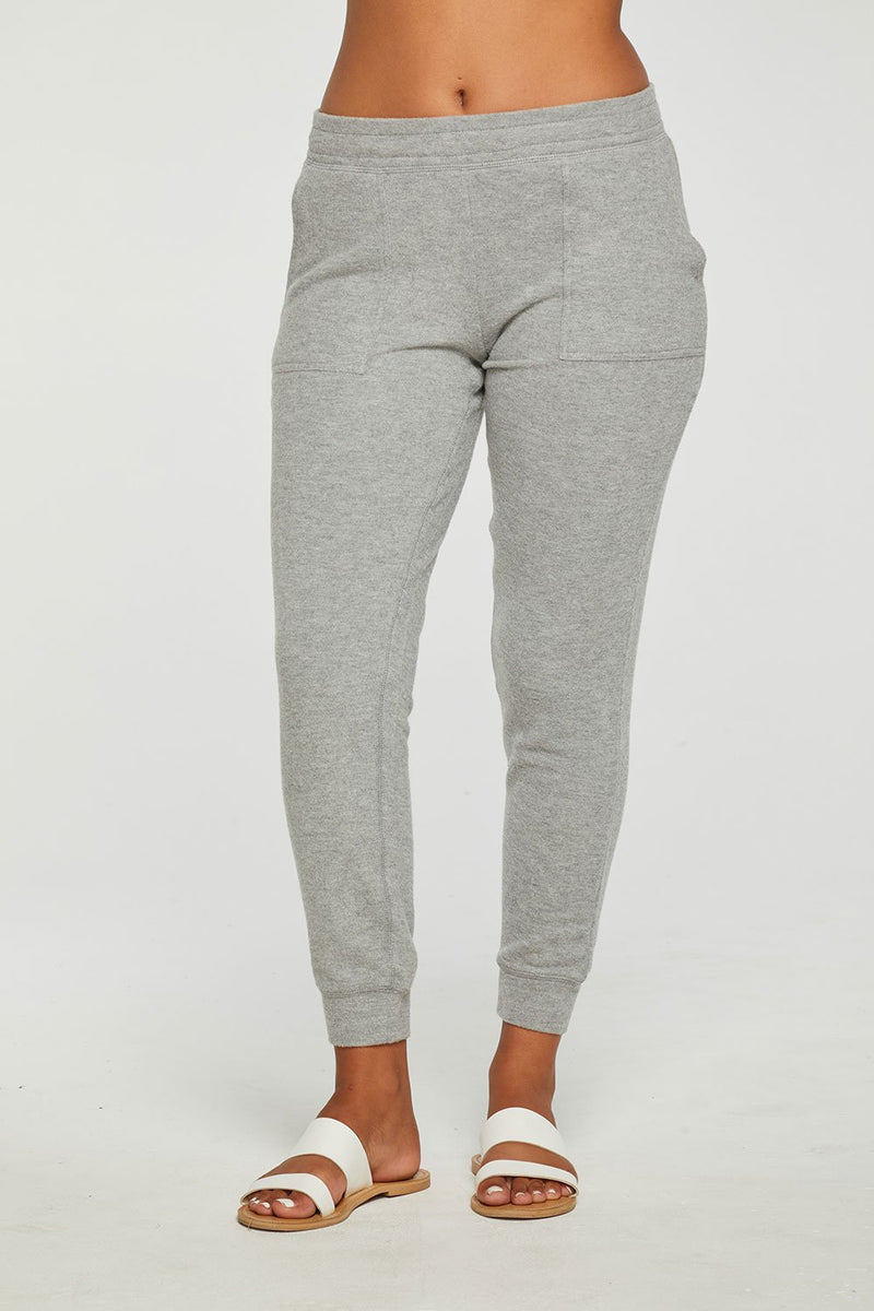 Chaser RPET Bliss Knit Easy Pull On Cuffed Pocket Jogger, Heather Grey