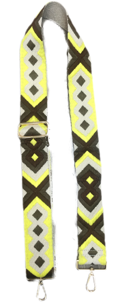 Ahdorned Embroidered Adjustable Bag Strap-Yellow/Brown