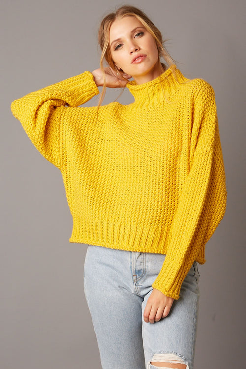 Cotton Candy Chunky Knit Boxy Sweater-Honey (mustard)