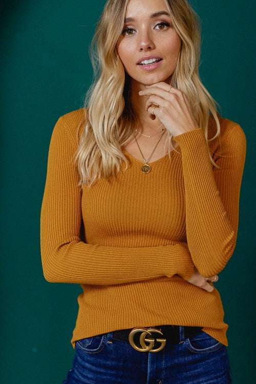 Basic Slim Fit V-Neck Ribbed Top - Mustard