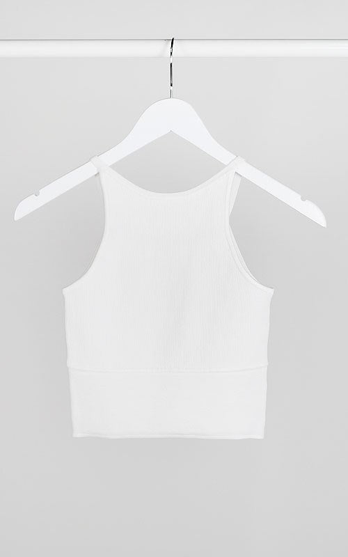 White Cropped Ribbed Tank - Ella J Boutique