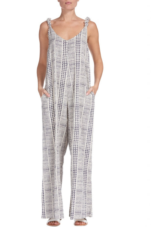 Elan Navy/Natural Aztec Wide Leg Jumpsuit
