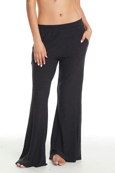 Chaser Cozy Knit Wide Leg Track Pant - Black