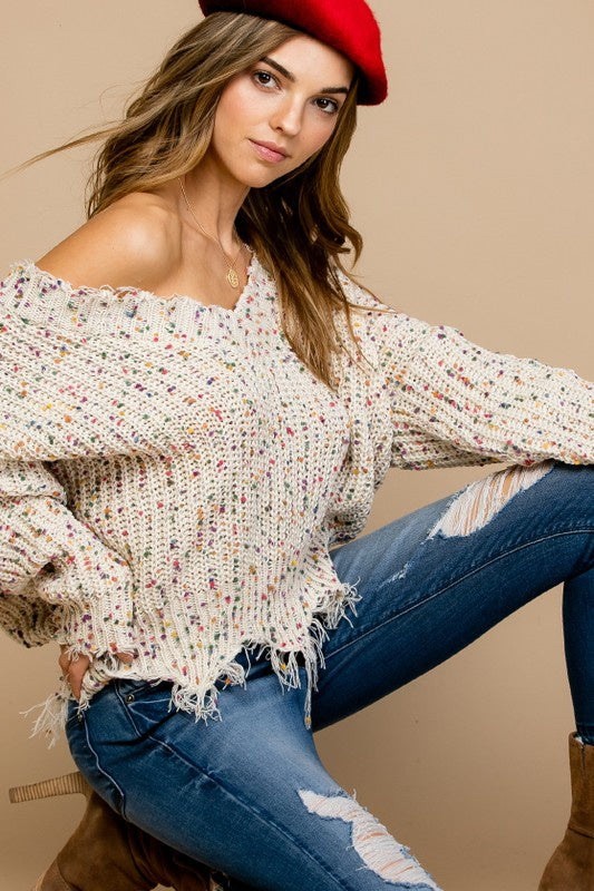 Distressed Speckles V-Neck Sweater - Beige - Ella J Boutique