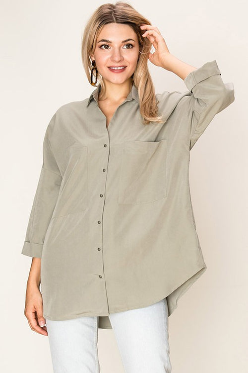 Button Down Loose Top - Light Olive