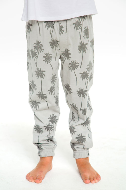 Chaser Kids Palm Trees Boys Cotton Jersey Lounge Pant, Platinum