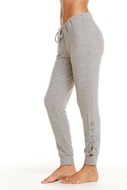 Chaser Love Knit Sleepwear Drawstrings Side Lace Up Pant, Heather Grey