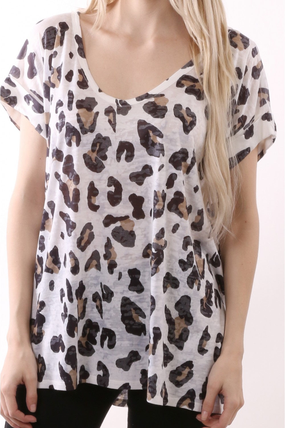 Sublimated Animal Print S/S V-Neck Top - White