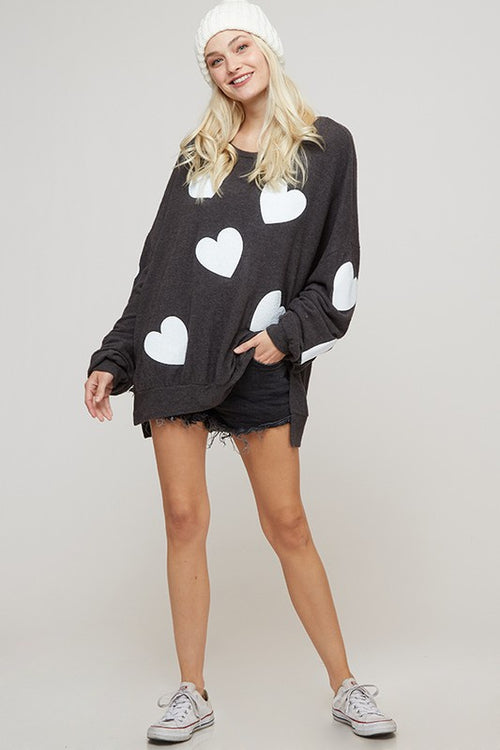 Charcoal with White Hearts Oversized Pullover