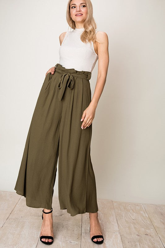 Hyfve Wide Leg Paper Bag Waist Pants - Olive - Ella J Boutique