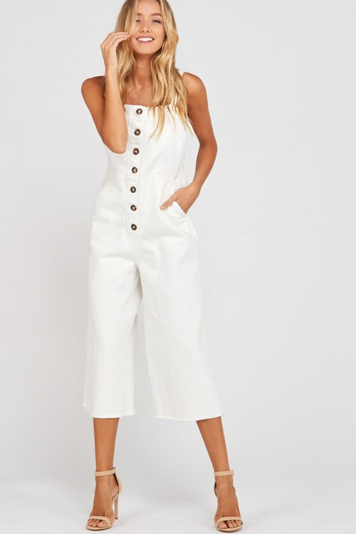 Overall Button Down Jumpsuit, Ivory