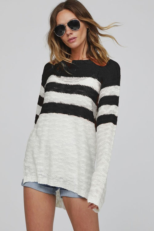 Bibi Stripe Light Weight Knit Top - Black