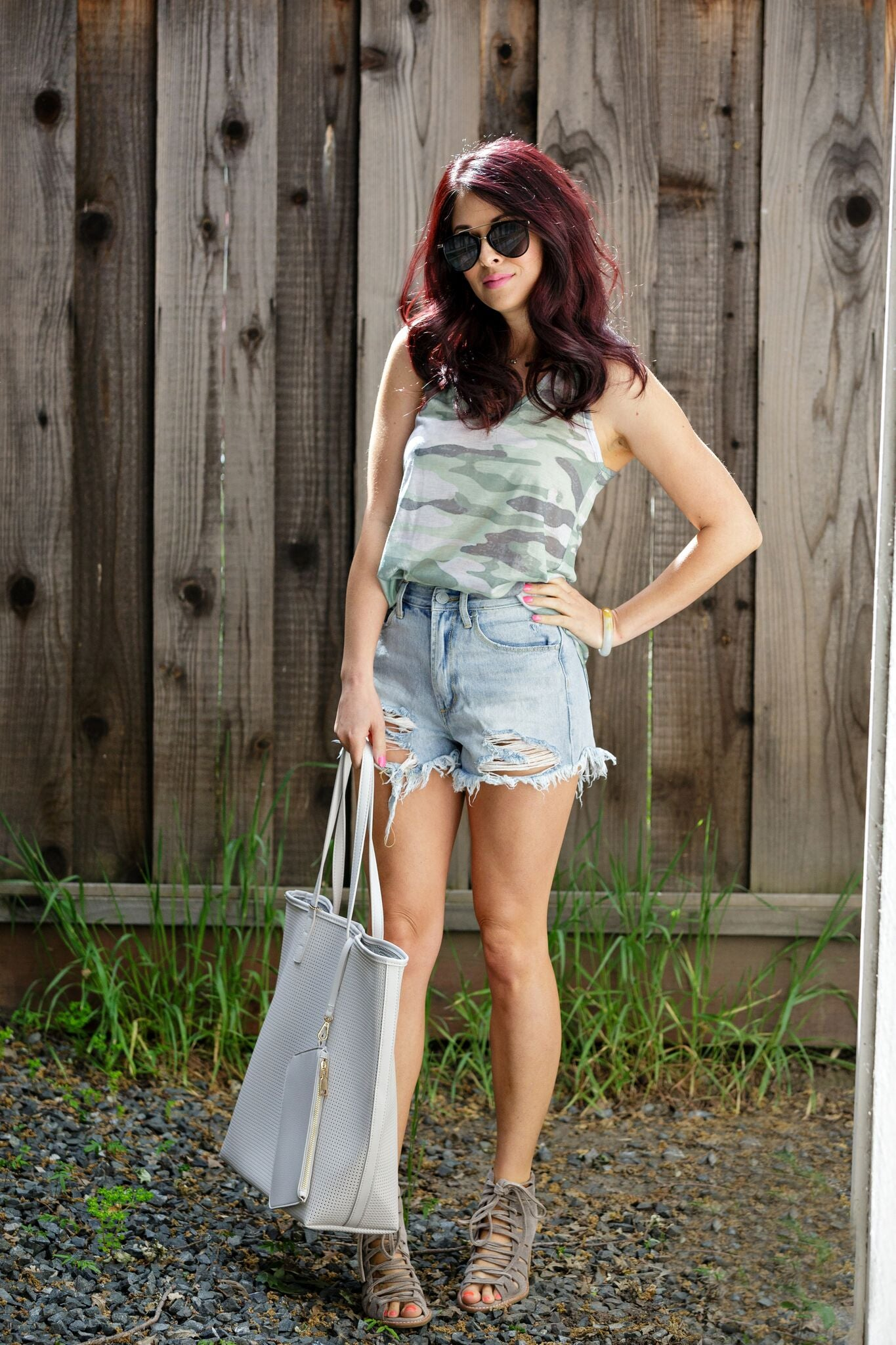 Enti Light Grey Camo Sublimated Tank Top - Ella J Boutique