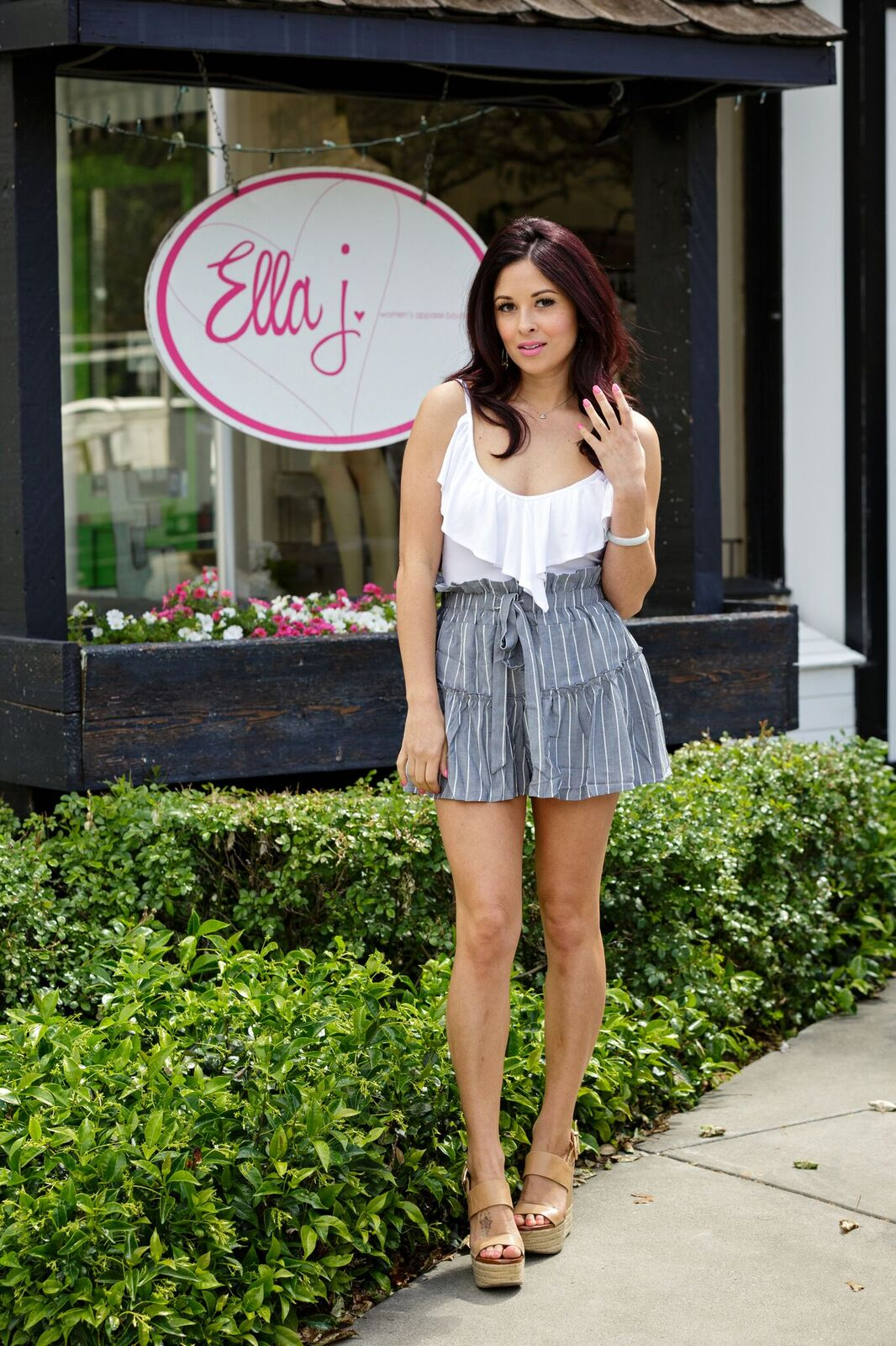 Grey Stripe Skort with Denim Lining - Ella J Boutique