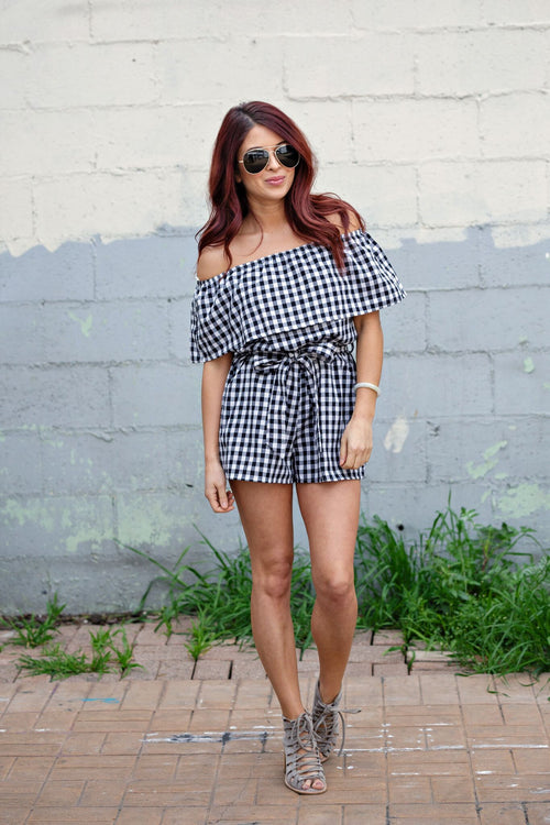 Black Sleeveless/Strapless Layered Checkered Romper