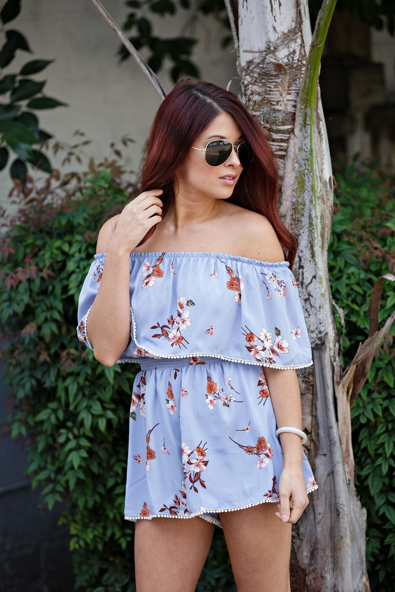 Light Blue Floral Off Shoulder Romper - Ella J Boutique