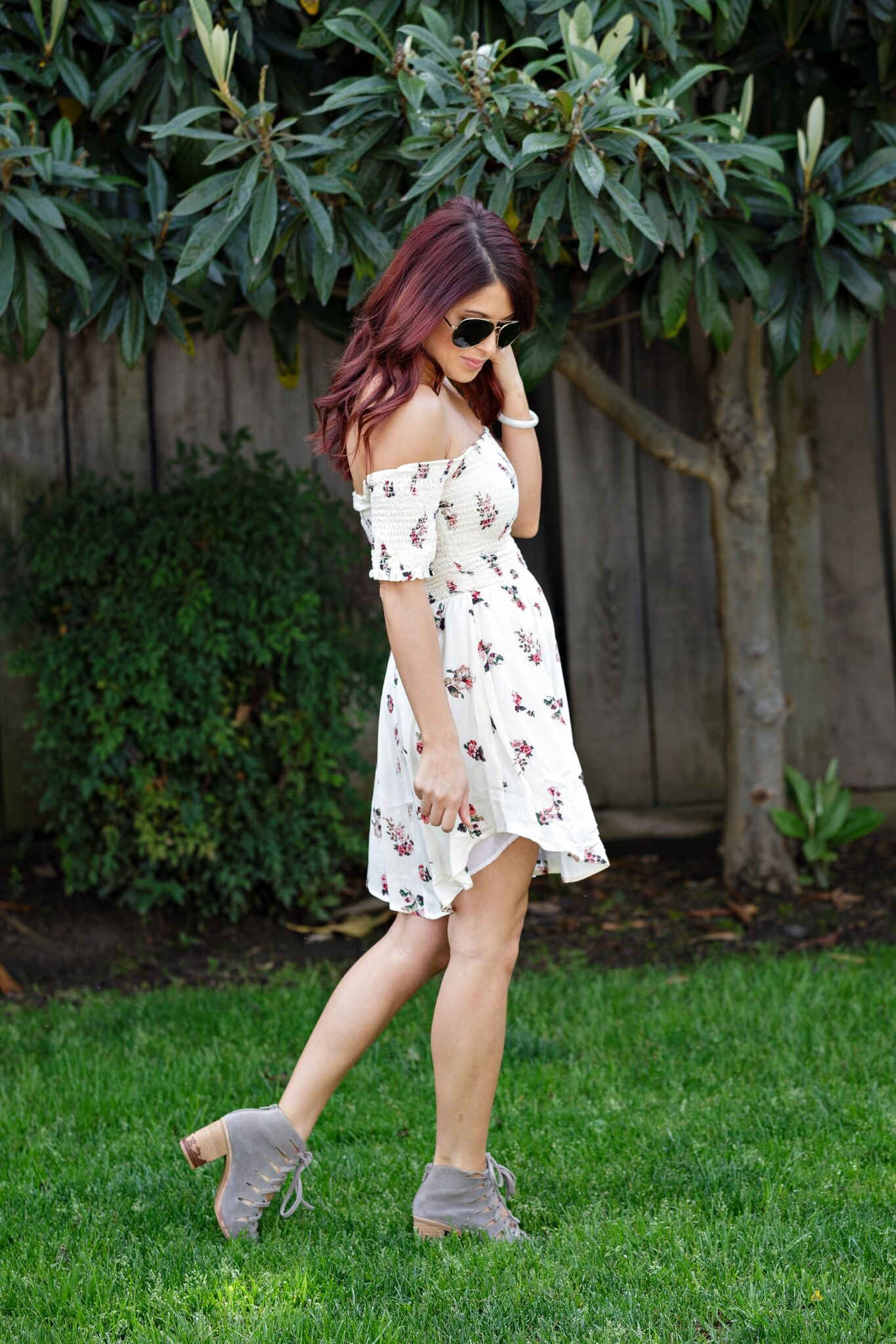 Floral Smocked Off Shoulder Dress - Ella J Boutique