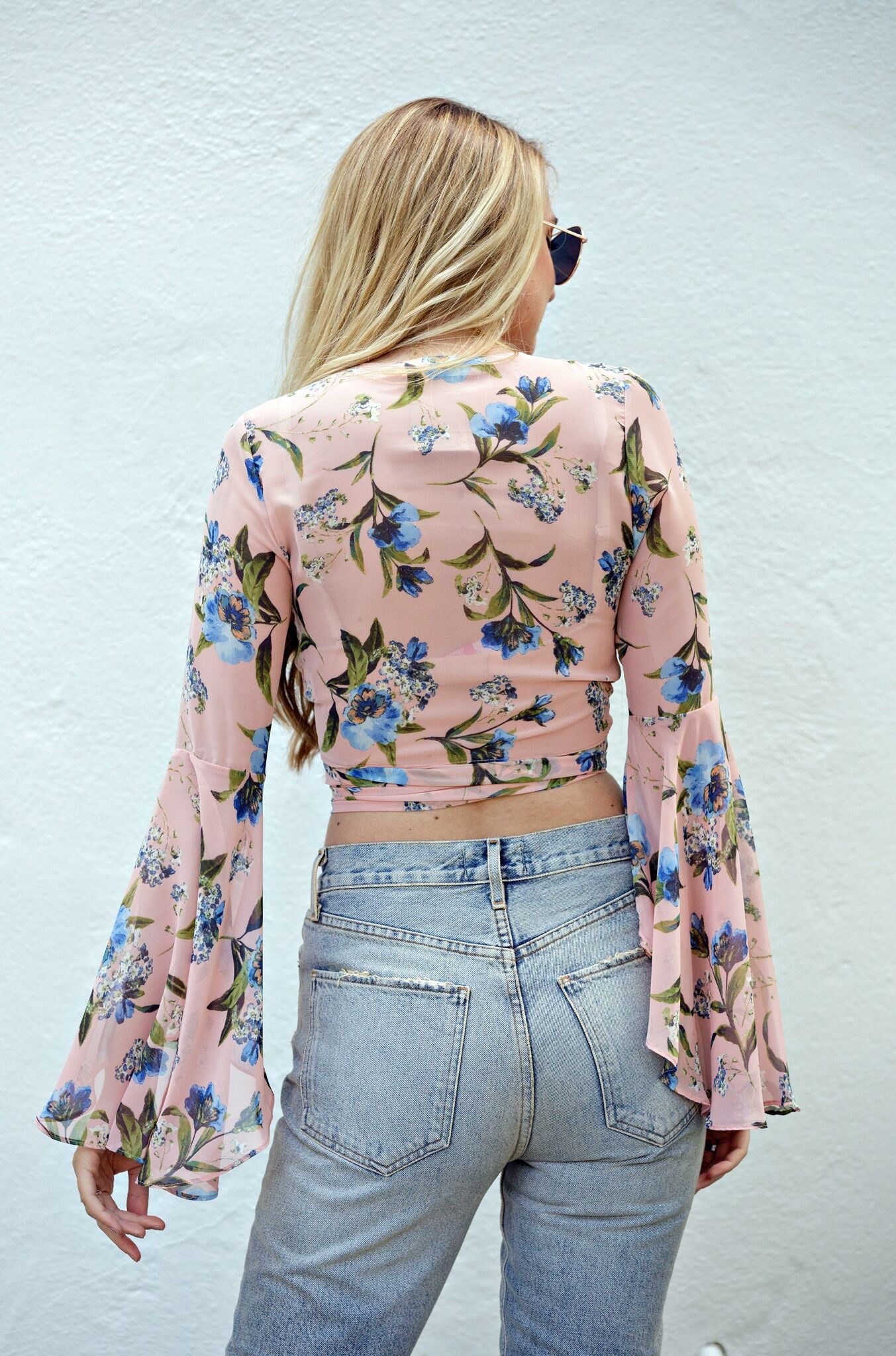 Mauve Floral Resort Wrap Top - Ella J Boutique