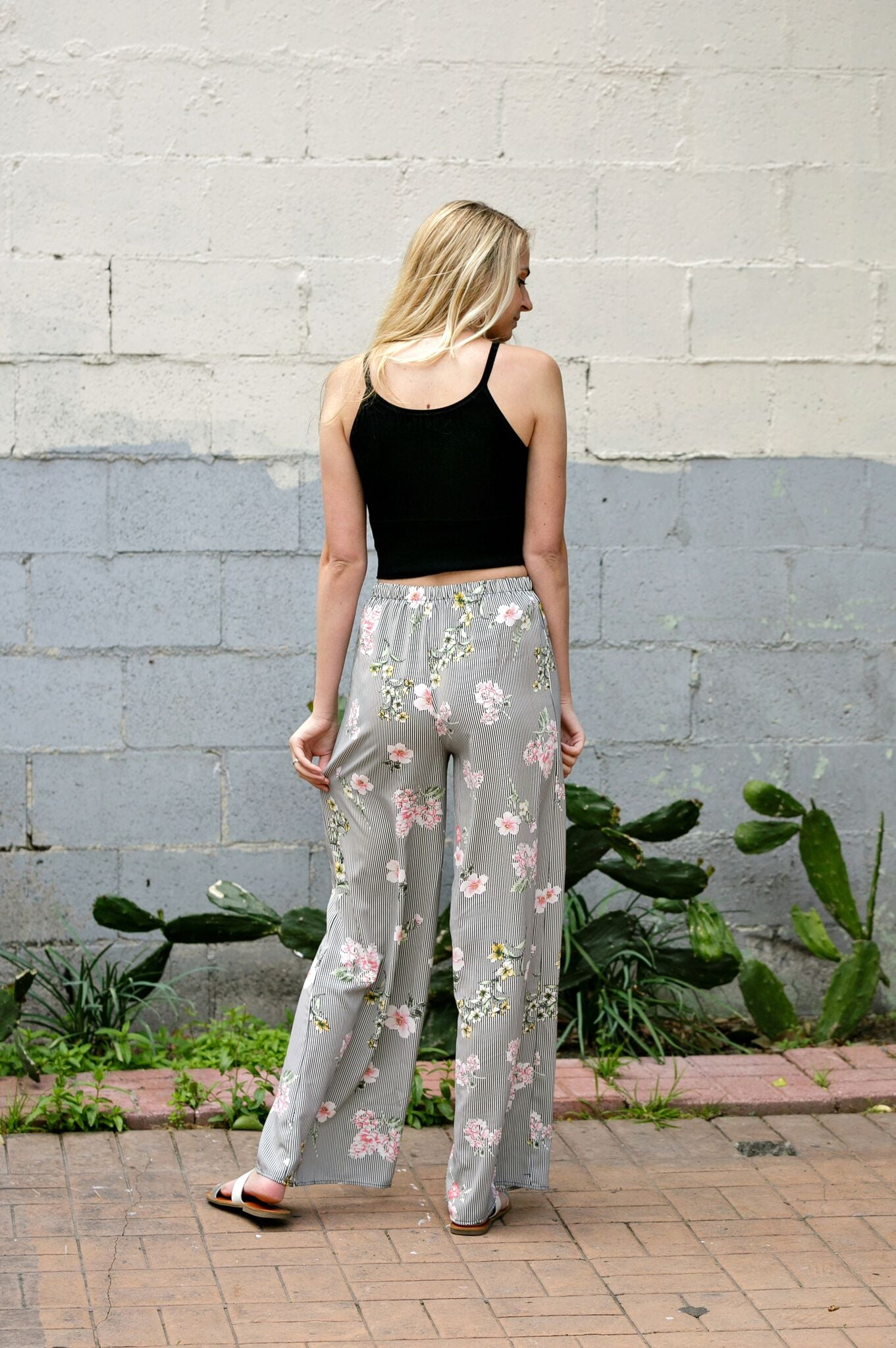 Floral Stripe Wide Leg Pants - Ella J Boutique