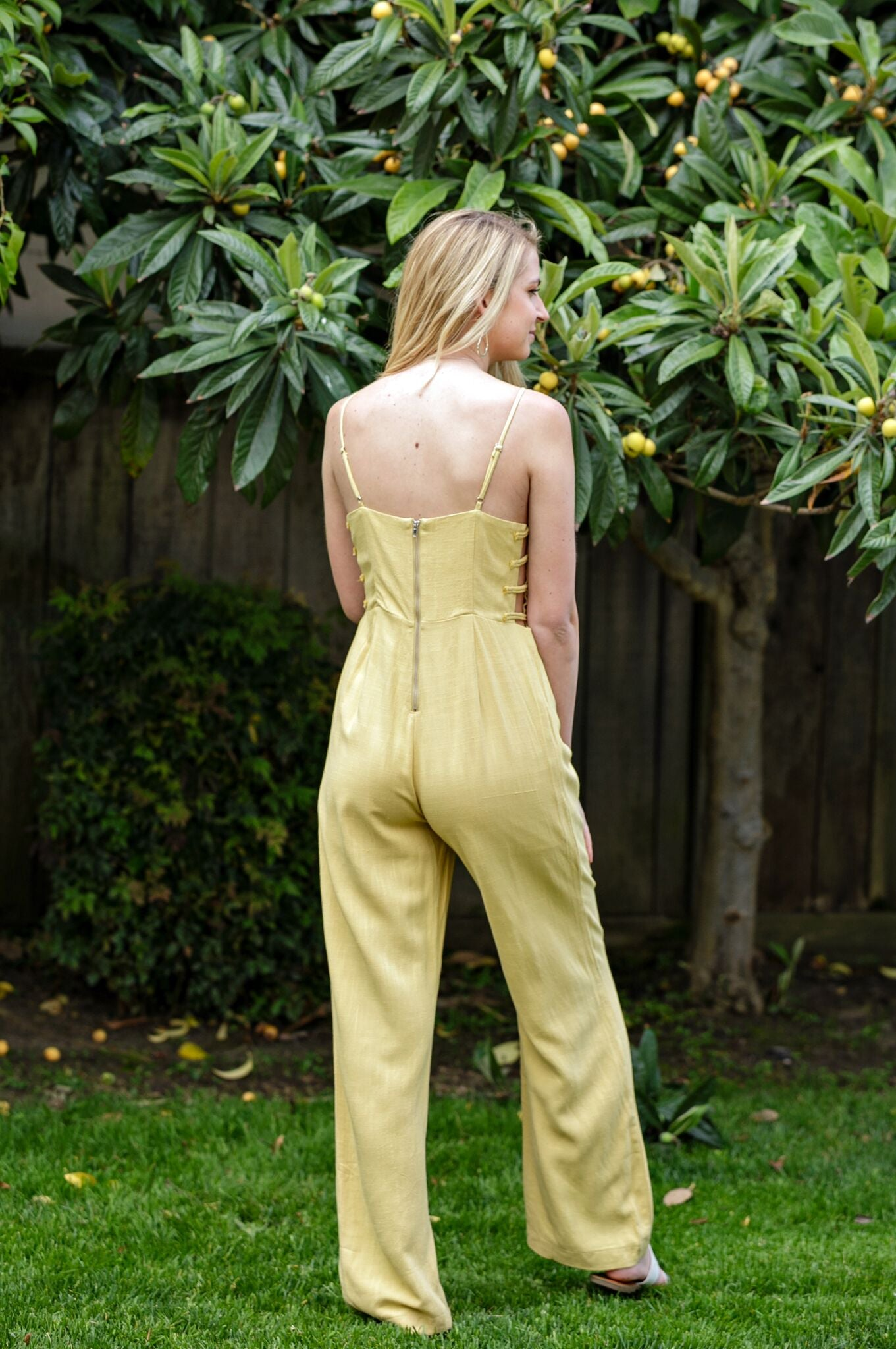Solid Yellow Strappy Side Detail Jumpsuit - Ella J Boutique