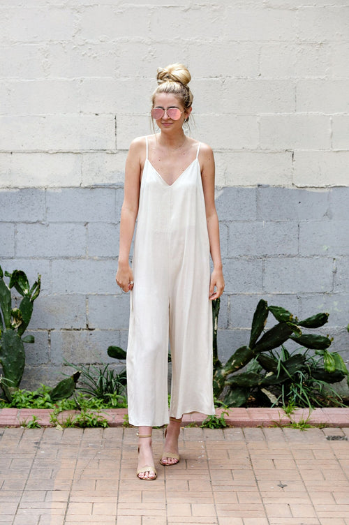 Oatmeal Detail Strap Side Button Jumpsuit