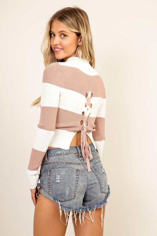 Olivaceous  Mock Neck Lace-Up Back Crop Sweater-Blush/White