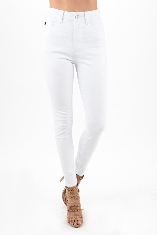 High Rise White Skinny Jeans - Ella J Boutique
