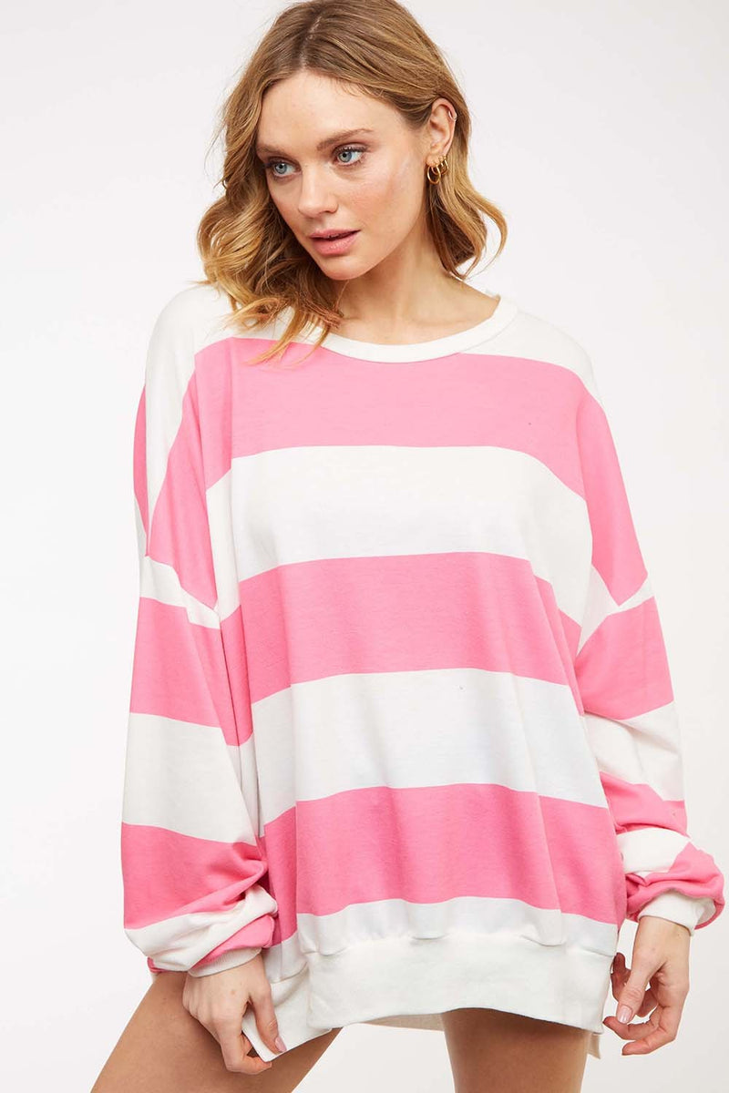 Striped Long Sweatshirt - Pink/Off White