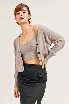 Reset by Jane Knit Cami and Cardigan Set - Taupe