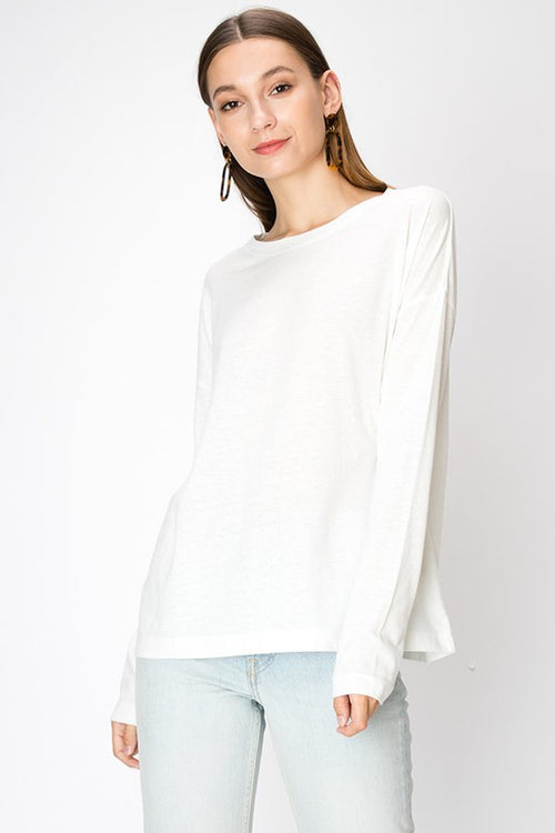 Double Zero Drop Shoulder L/S Top - Cream
