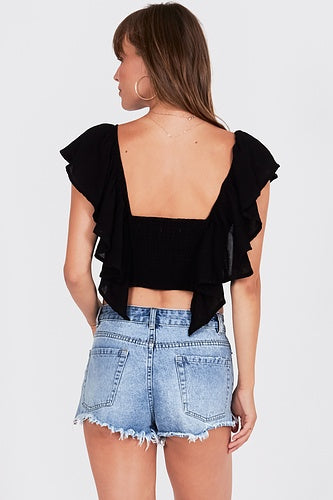Amuse Cayo de Coco Woven Top - black - Ella J Boutique
