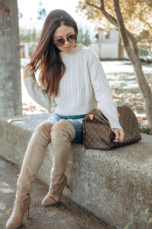 Cropped Cable Knit Sweater -