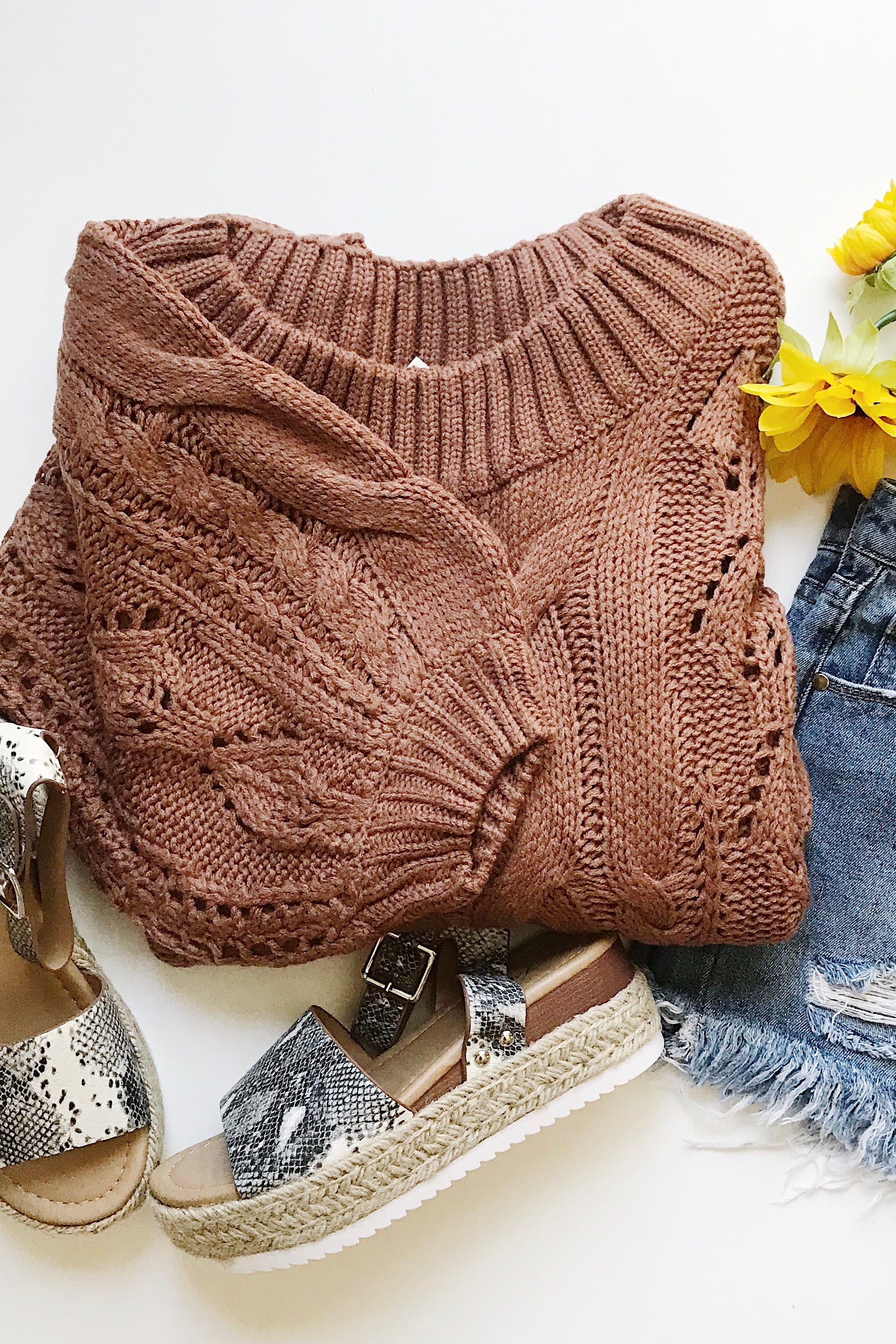 Canyon Cable Knit Puff Sleeves Sweater