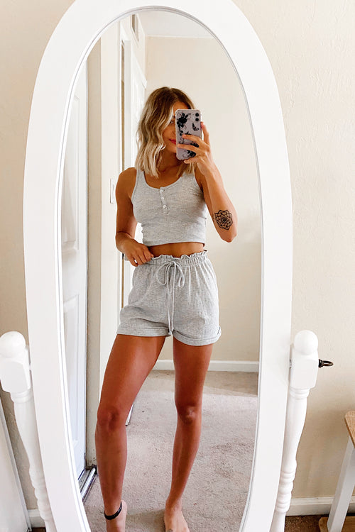Heather Grey Button Tank Top & Short Set